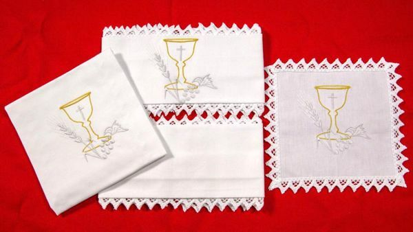 Picture of Sacramental Altar Linens Set Chalice Pure Cotton White Mass Cloths