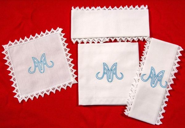 Picture of Marian Sacramental Altar Linens Set embroidery Pure Cotton White Mass Cloths