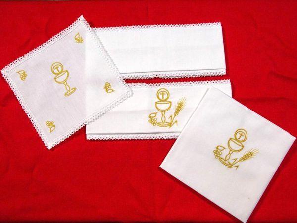 Immagine di Servizio Messa ricamato Calice Ostia puro Lino Set Completo Biancheria Altare