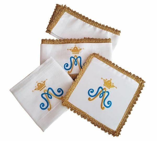 Immagine di Servizio Messa Mariano ricamato frangia dorata puro Lino Set Completo Biancheria Altare