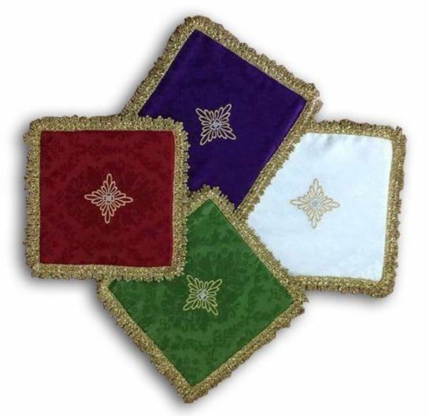 Imagen de Palia cubre Cáliz tejido Damasco Marfil Morado Rojo Verde cm 17x17 (6,7x6,7 inch) Paño litúrgico Altar Hijuela