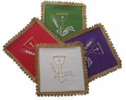 Immagine di Palla Copricalice da Altare Poliestere Avorio Viola Rosso Verde cm 17x17 (6,7x6,7 inch) Biancheria Eucaristica Animetta