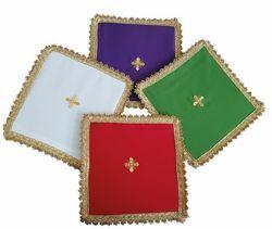 Imagen de Palia cubre Cáliz Poliéster Marfil Morado Rojo Verde cm 17x17 (6,7x6,7 inch) Paño litúrgico Altar Hijuela