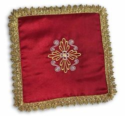 Picture of Pall Eucharistic Chalice Cover Polyester Satin Ivory Violet Red Green cm 17x17 (6,7x6,7 inch) Altar Linen