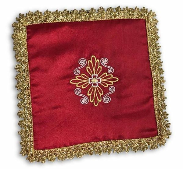 Immagine di Palla Copricalice da Altare in Raso Avorio Viola Rosso Verde cm 17x17 (6,7x6,7 inch) Biancheria Eucaristica Animetta