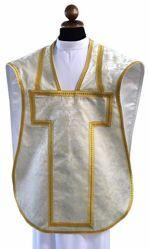 Imagen de Planeta litúrgica Damasco de Tejido Vatican 100% Poliéster Oro Plata