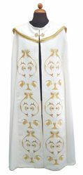 Picture of Clergy Cope Pluviale rich embroidery Cross JHS Polyester Ivory white Violet Red Green