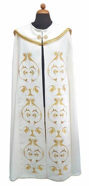 Immagine di Piviale liturgico ricco ricamo Croce JHS Poliestere Bianco Avorio Viola Rosso Verde