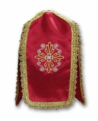 Picture of Cross-shaped Ciborium Veil Cover Conopeo Cross embroidery on 4 sides Satin Ivory white Violet Red Green