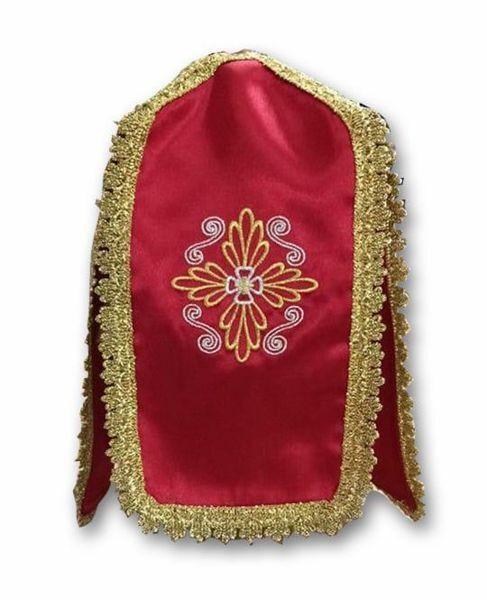 Imagen de Cubre Copón litúrgico Conopeo forma de cruz bordado Cruz Satén Blanco Marfil Morado Rojo Verde