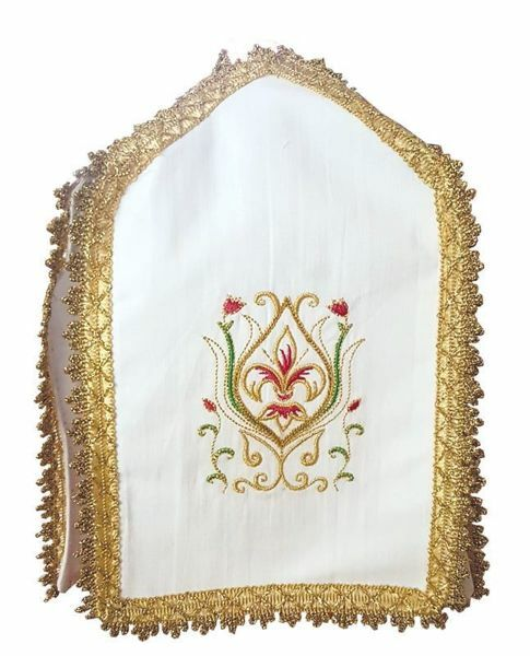 Picture of Cross-shaped Ciborium Veil Cover Conopeo Lily embroidery on 4 sides Cotton