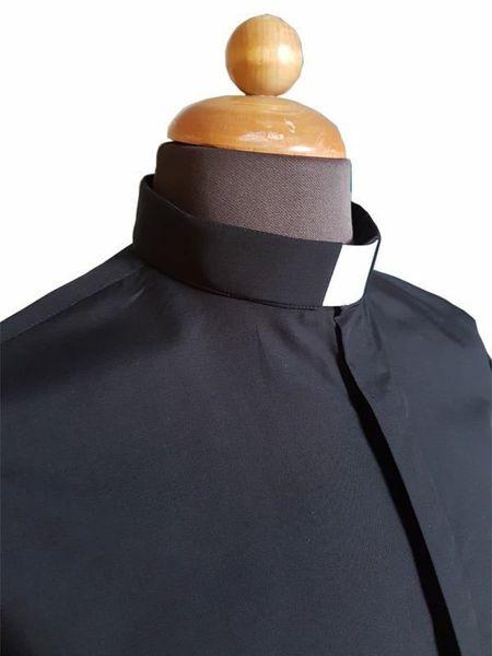 Immagine di Camicia Collo Clergy Collarino manica lunga misto Cotone Blu Grigio Chiaro Grigio Scuro Celeste Nero