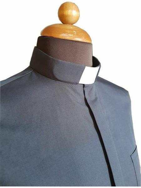 Immagine di Camicia Collo Clergy Collarino manica lunga Cotone Popeline Blu Grigio Chiaro Grigio Scuro Celeste Nero