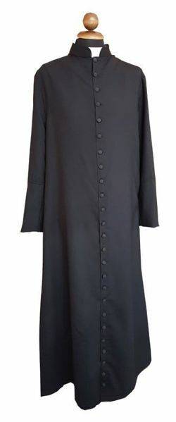 Picture of Clergy Cassock covered buttons black Fresco Lana Fabric