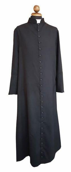 Imagen de Sotana litúrgica Clérigo Negra botones recubiertos Tejido Fresco Lana Vestido Talar