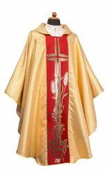 Immagine di Casula liturgica dorata Stolone Croce misto Lana Oro