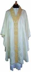 Picture of Liturgical Chasuble Damask fabric Pure Acetate Ivory Violet Red Green