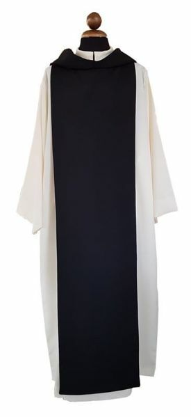 Scapolare bianco Sacerdotale Cistercense avorio Camice Tunica Poliestere con liturgica nero dwXEqnHn