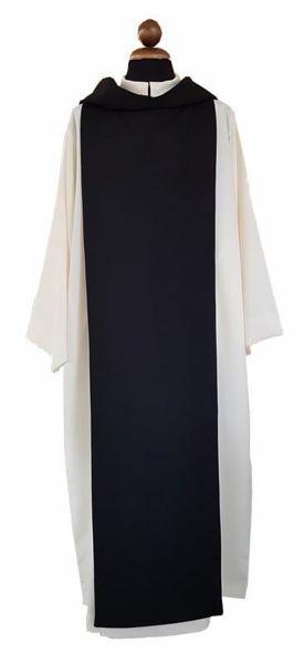 Imagen de Alba Sacerdotal Cisterciense blanca marfil con Scapular negro Poliéster Túnica litúrgica