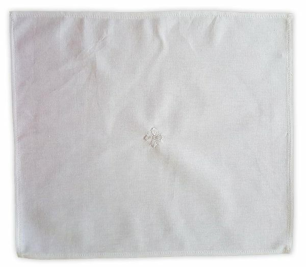 Picture of Liturgical Lavabo Towel Manuterges embroidered Cross Pure Cotton White