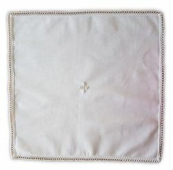Picture of Corporal Liturgical Altar Linen embroidered Cross and Lace Pure Cotton White