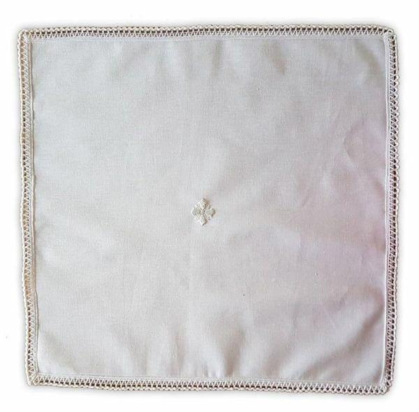 Immagine di Corporale liturgico Biancheria da Altare ricamo Croce Merletto Cotone Bianco