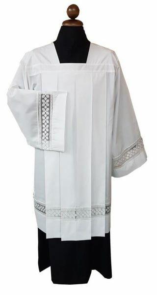 Immagine di Cotta Sacerdotale bianca 4 piegoni tramezzo misto cotone