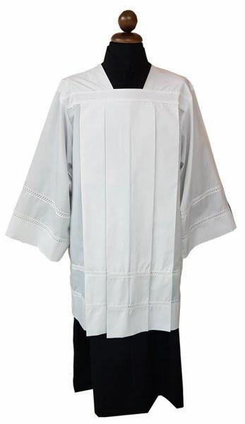 Immagine di Cotta Sacerdotale bianca 4 piegoni tramezzo Gigliuccio misto cotone