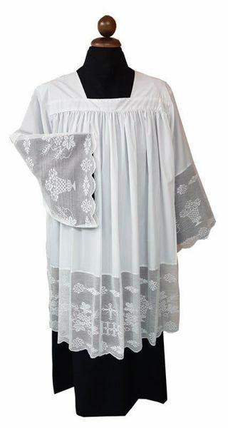 Immagine di Cotta Sacerdotale bianca arricciatura merletto IHS misto cotone