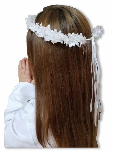 Picture of Floral Crown Daisies White Wreath Veil for First Communion dress