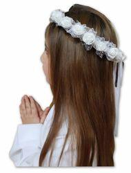 Imagen de Corona blanca floral Rosas Cintillo para Túnica Primera Comunión