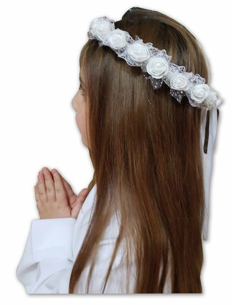 Picture of Floral Crown Roses White Wreath Veil for First Communion dress