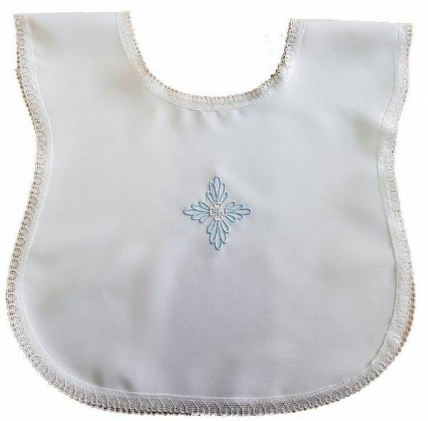 Imagen de Túnica Bautizo bebé niño bordado Cruz floral azul Vestido Capa bautismal Poliéster Blanco