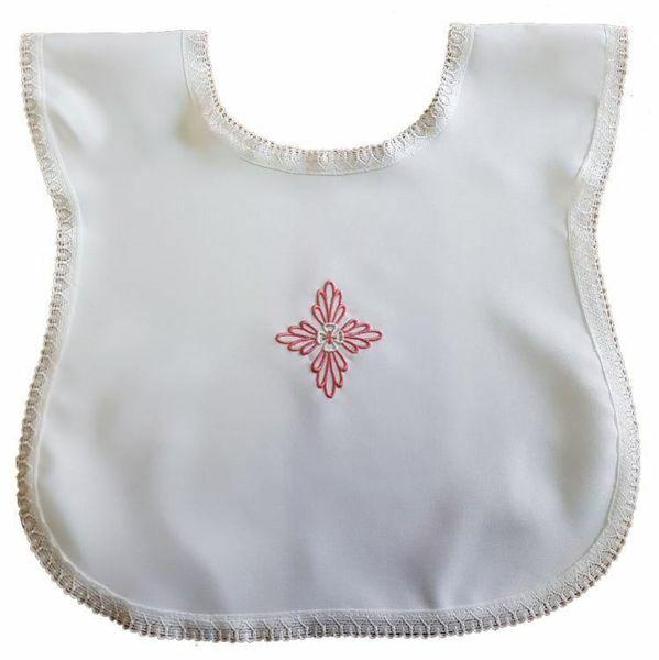 Immagine di Vestina Battesimo bimba ricamo a mano Croce floreale rosa Camicina battesimale Poliestere Bianco