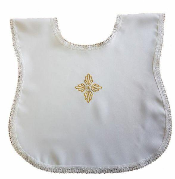 Immagine di Vestina Battesimo bimbo bimba ricamo Croce floreale oro Camicina battesimale Poliestere Bianco