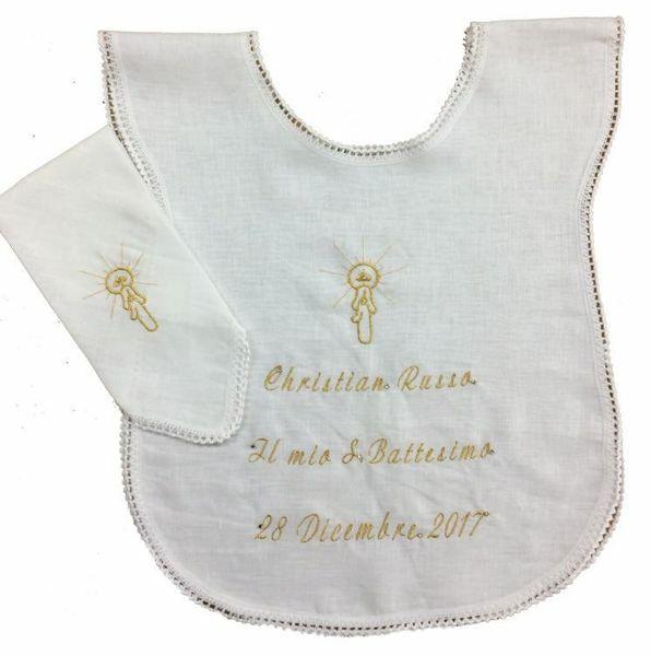 Immagine di PERSONALIZZATA Set Battesimo Vestina bianca e fazzoletto bimbo bimba puro Lino Camicina battesimale