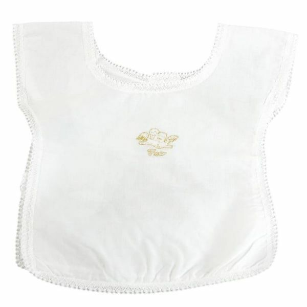 Immagine di Vestina Battesimo bimbo bimba ricamo Angeli Camicina battesimale Cotone Bianca
