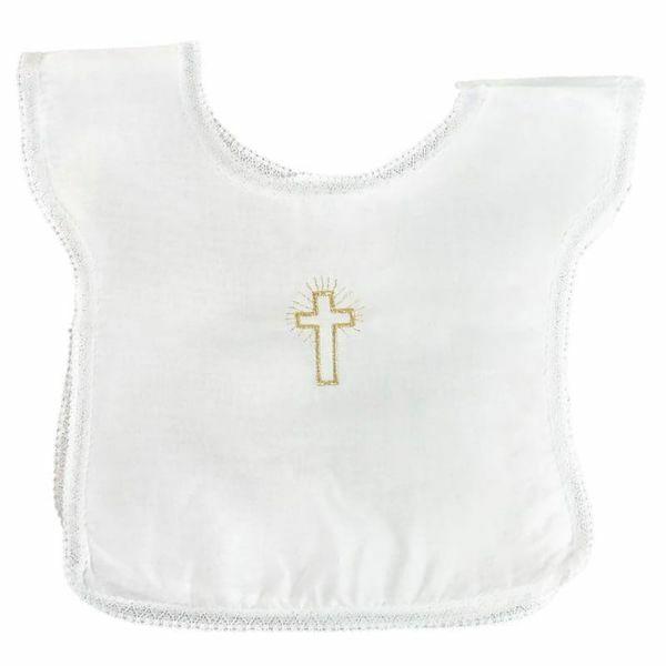 Imagen de Túnica Bautizo bebé niño niña bordado Cruz Vestido Capa bautismal Algodón Blanca