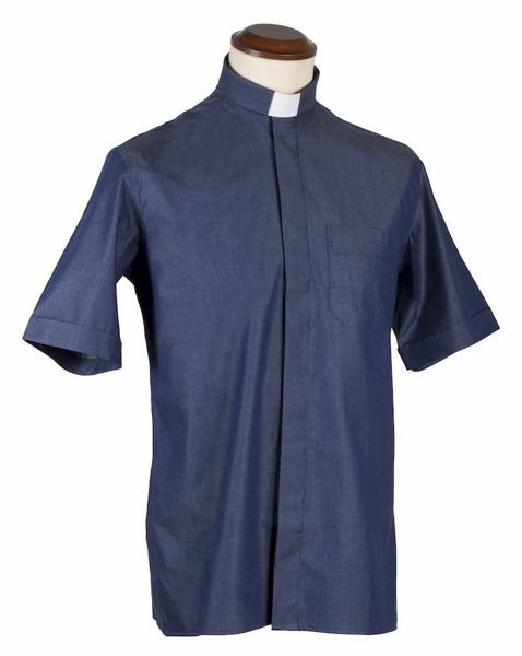 Picture of Tab-Collar Clergy Shirt short sleeve Jeans Cotton Felisi 1911  Blue