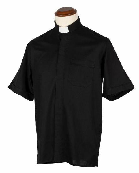 Immagine di Camicia Collo Clergy Collarino manica corta Easy Stretch (Stiro Facile) in misto Poliestere Felisi 1911 Nero