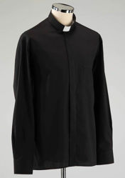 Immagine di Camicia Collo Clergy Collarino manica lunga Easy Stretch (No Stiro) in misto Poliestere Felisi 1911 Nero