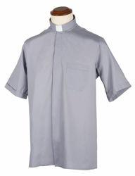 Immagine di Camicia Collo Clergy Collarino manica corta misto Cotone Felisi 1911 Bianco Blu Celeste Grigio Chiaro Grigio Medio Grigio Scuro Nero
