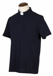 Picture of Tab-Collar Clergy Polo Shirt short sleeve Jersey Cotton Felisi 1911 Blue Light Grey Dark Grey Black