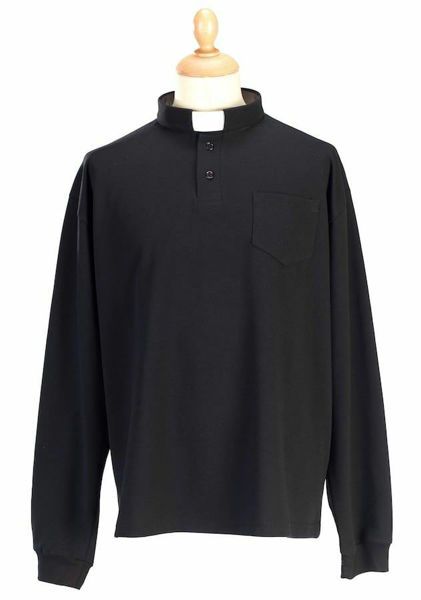 Picture of Tab-Collar Clergy Polo Shirt long sleeve Jersey Cotton Felisi 1911 Blue Light Grey Dark Grey Black