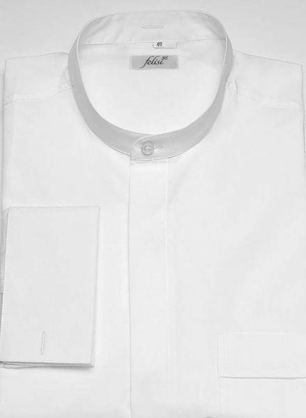 Picture of Clergy Shirt for Cassock Korean Collar Double French Cuffs Cotton blend Felisi 1911 White