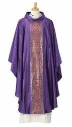 Picture of Byzantine Chasuble Byzantium Silk blend Red Olive Green Ivory Violet/Red Felisi 1911