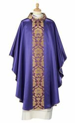 Picture of Renaissance Liturgical Chasuble Brocade satin Viscose Polyester Red Violet Green Flag Ivory Felisi 1911