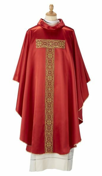 Picture of Priestly Liturgical Chasuble satin galloon Tau Cross Polyester Red Violet Green Flag Ivory Felisi 1911