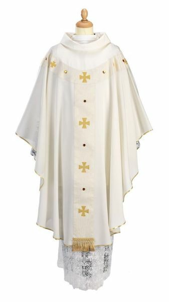 Picture of Apostles Chasuble ring Collar Cross Wool blend Red Olive Green Violet Ivory Felisi 1911