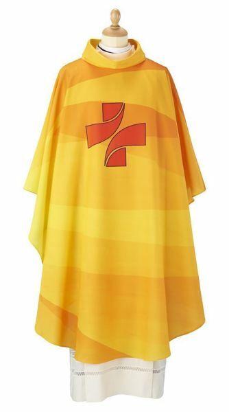 Imagen de Casulla litúrgica multicolor Poliéster Rojo Celestial Morado Amarillo Verde Bandera Marfil Felisi 1911